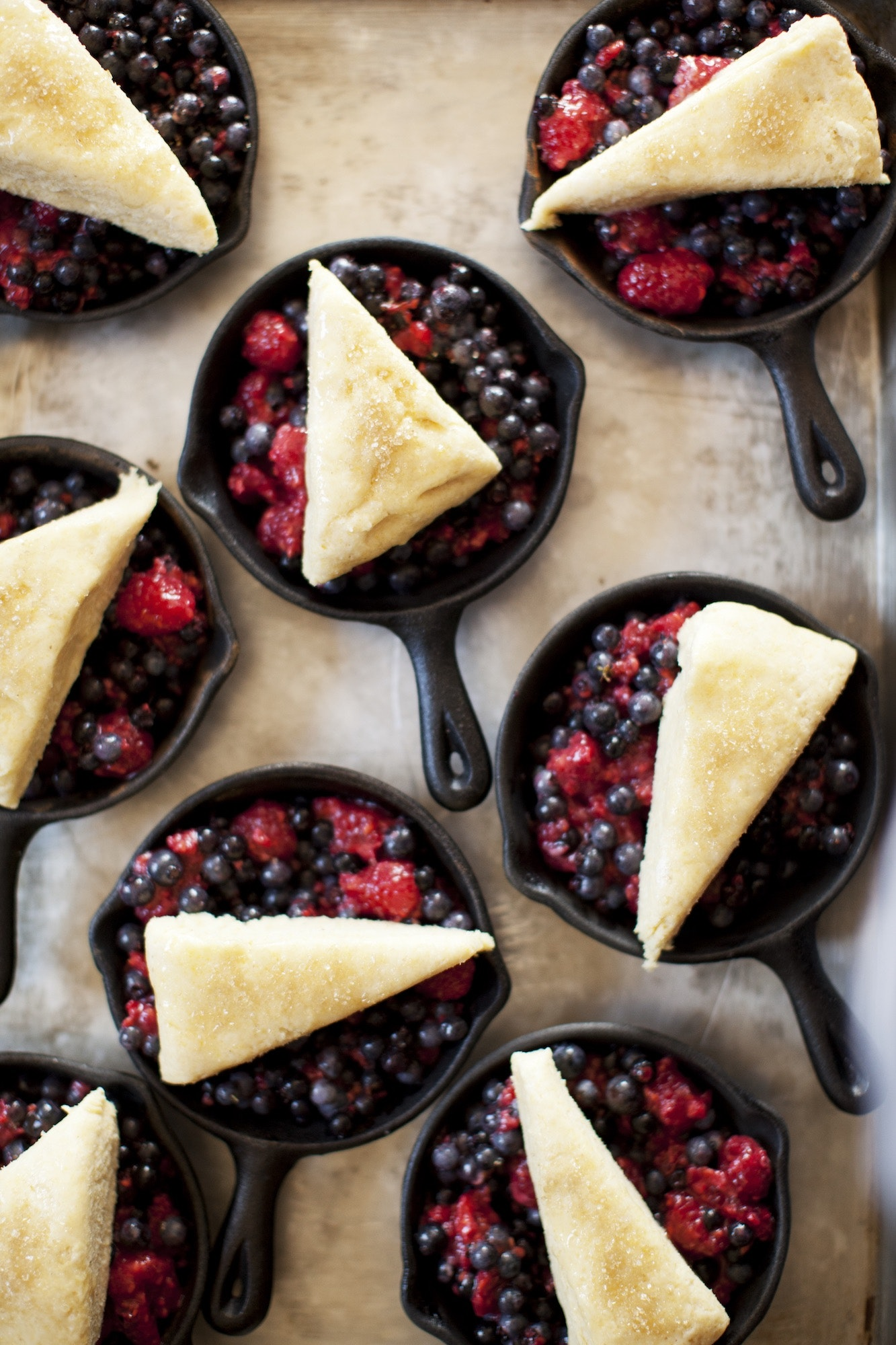 Homemade meals include a delectable mixed berry cobbler for dessert.