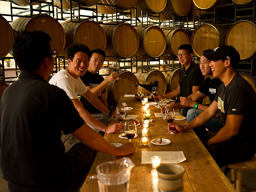 At Santa Barbara Winery, wine tastings take place among the barrels.
