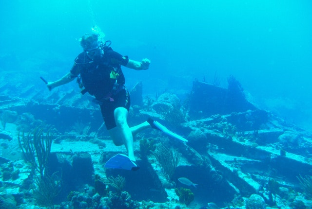 Doing the shipwreck dance at the HMS Rhone off of Tortola
