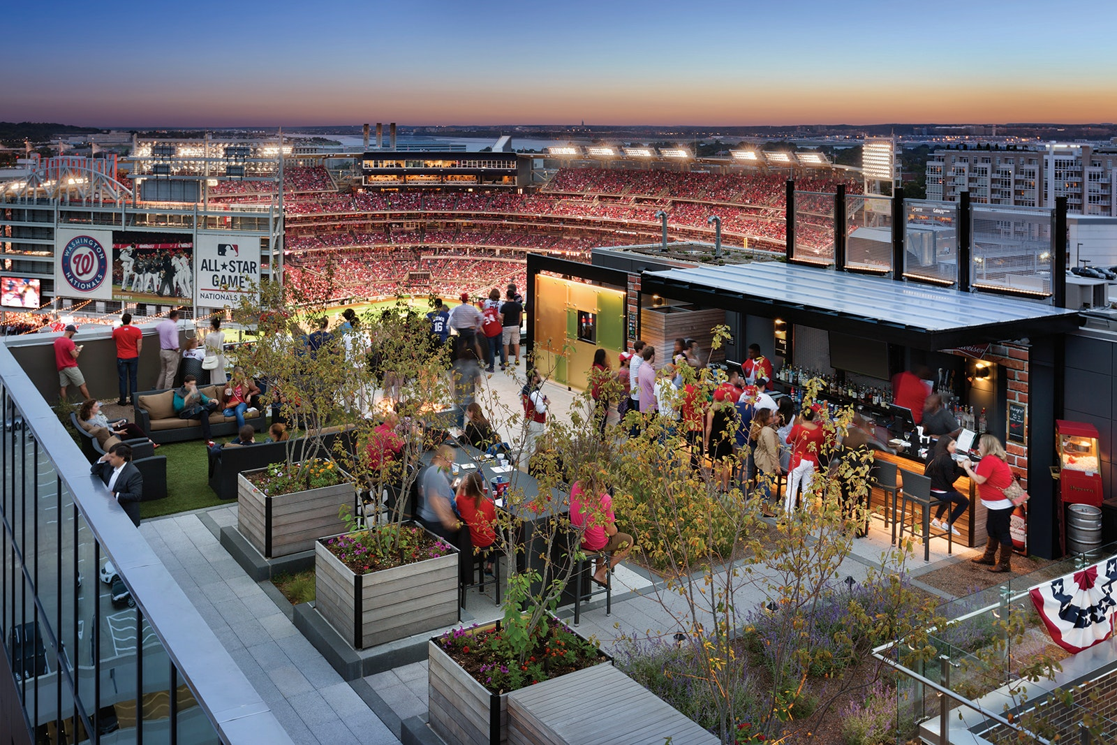 Watch a Nationals game at this baseball-centric roof bar.