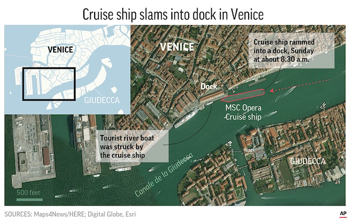 A map of where the cruise ship crashed into a dock on Sunday