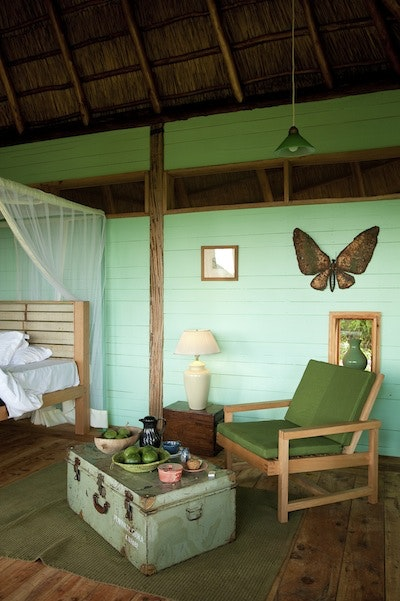The interior of a cottage at Bwindi Lodge.