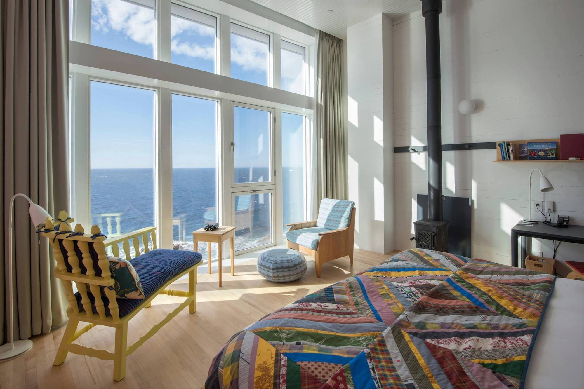 At Fogo Island Inn, contemporary fireplaces keep the 29 guest rooms, lobby, restaurant, and library warm.