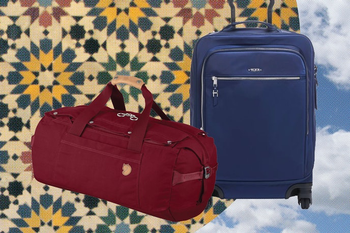 The Fjällräven No. 6 Duffel, left, and TUMI's Voyageur Tres Léger International Carry-On, right