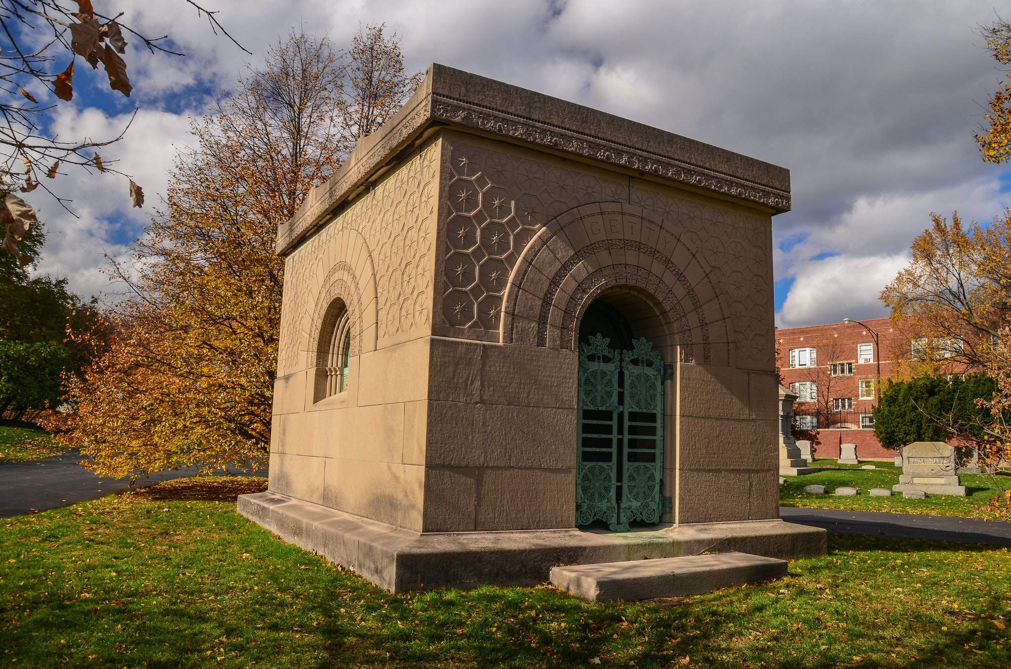 Famed architect Louis Sullivan designed the Getty Tomb in Graceland Cemetery.