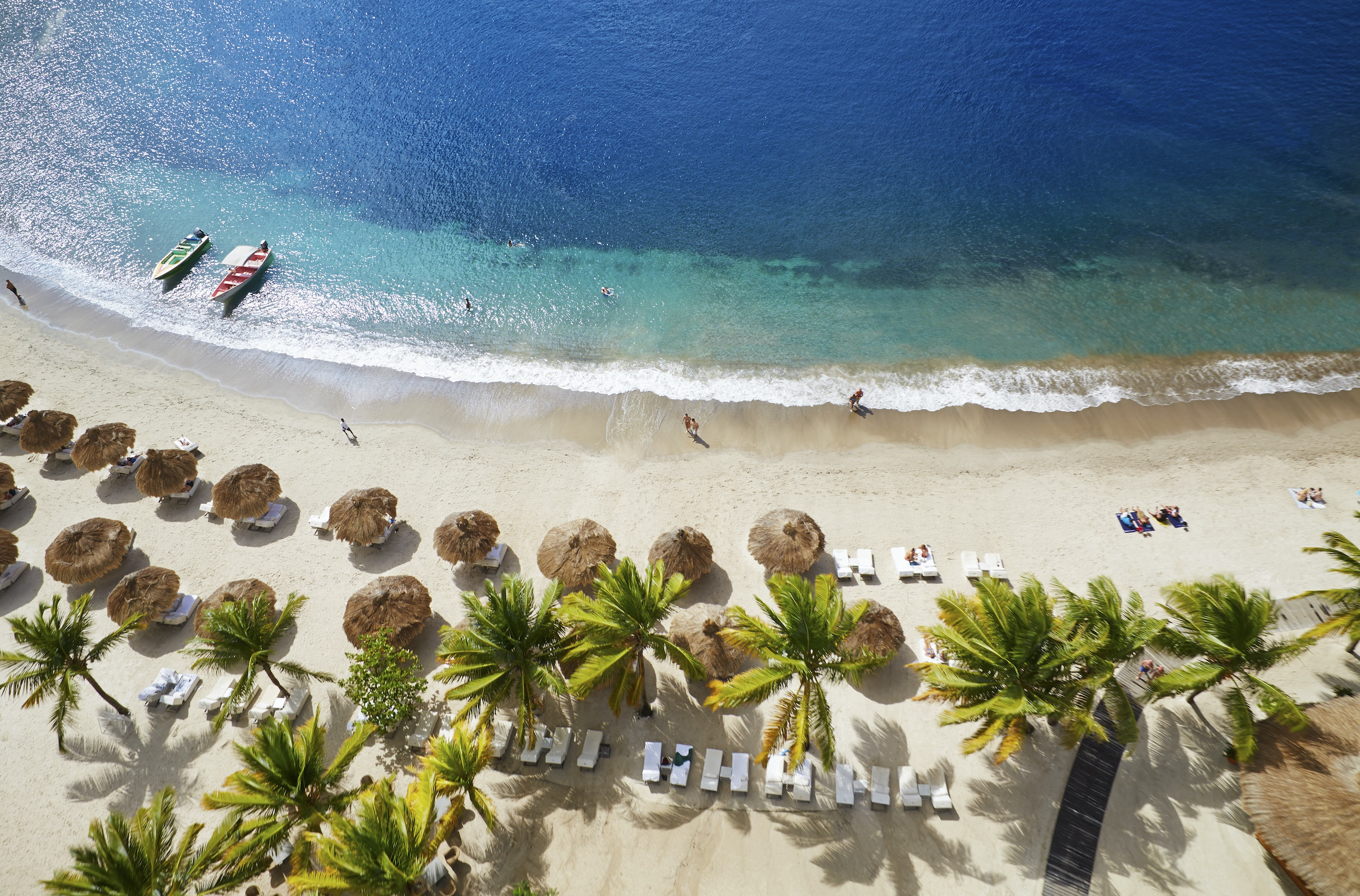 An aerial view of Sugar Beach, A Viceroy Resort, which is reducing rates by 30 percent.