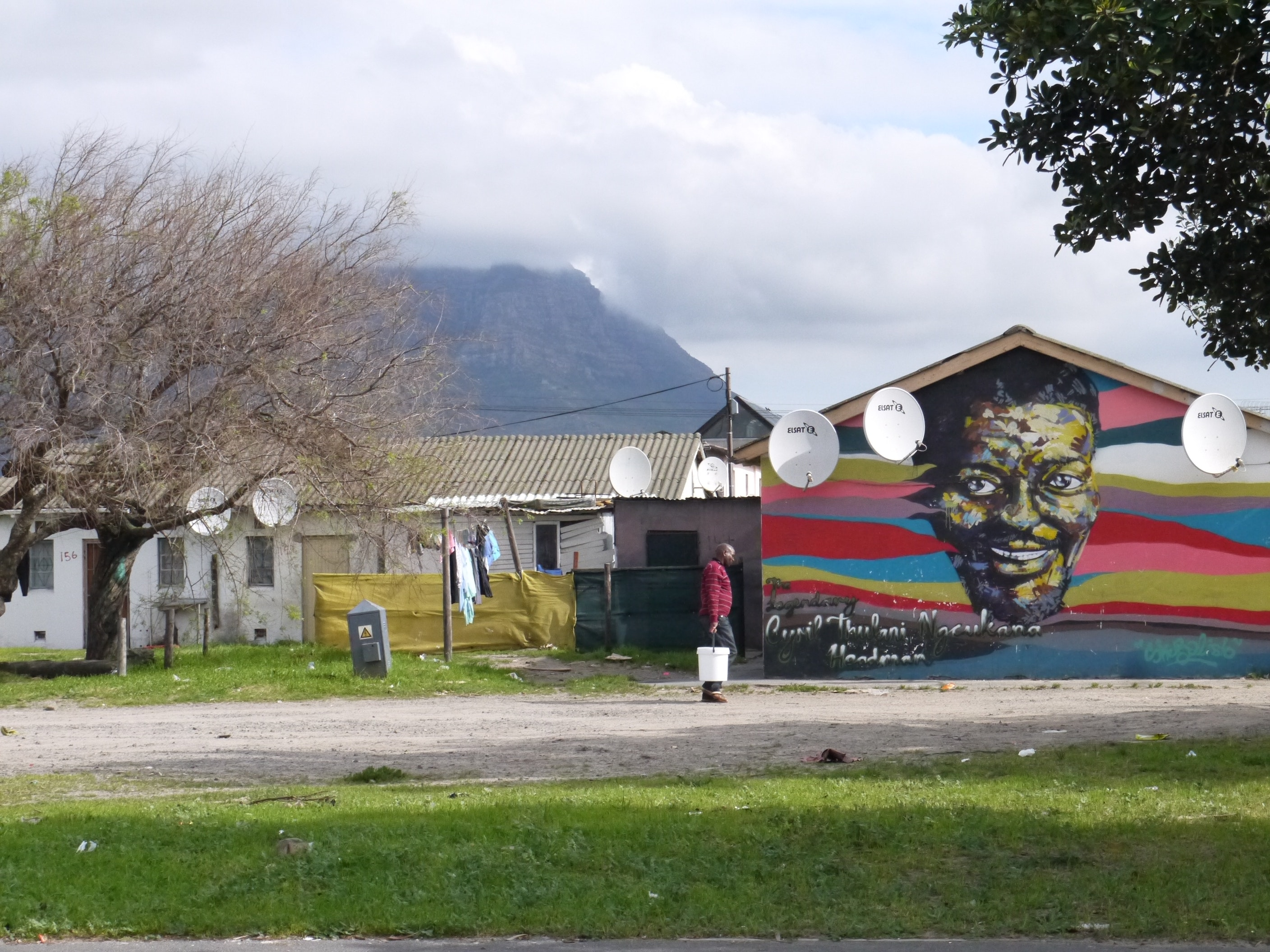 Art peers out from all kinds of surfaces in Langa township.