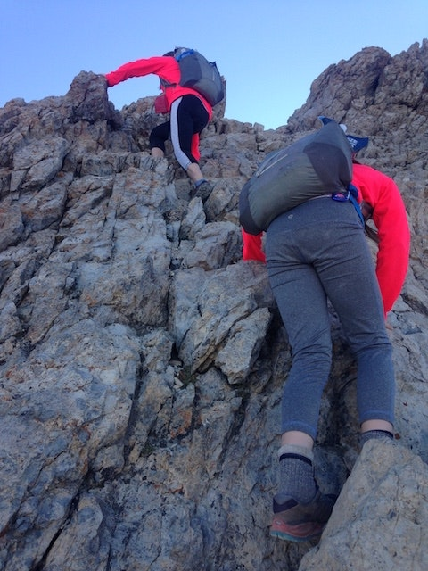 The Herr girls climb Chicken Out Ridge on Mt. Borah in Idaho