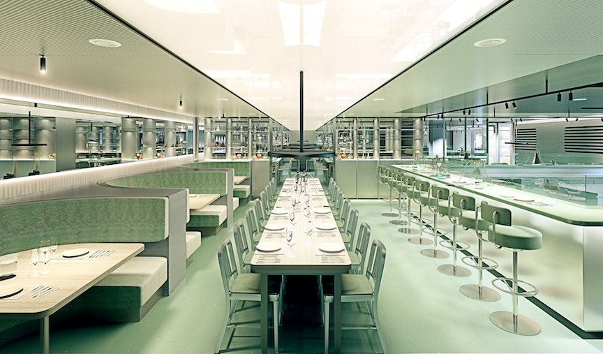 The firm Concrete Amsterdam designed The Test Kitchen space.