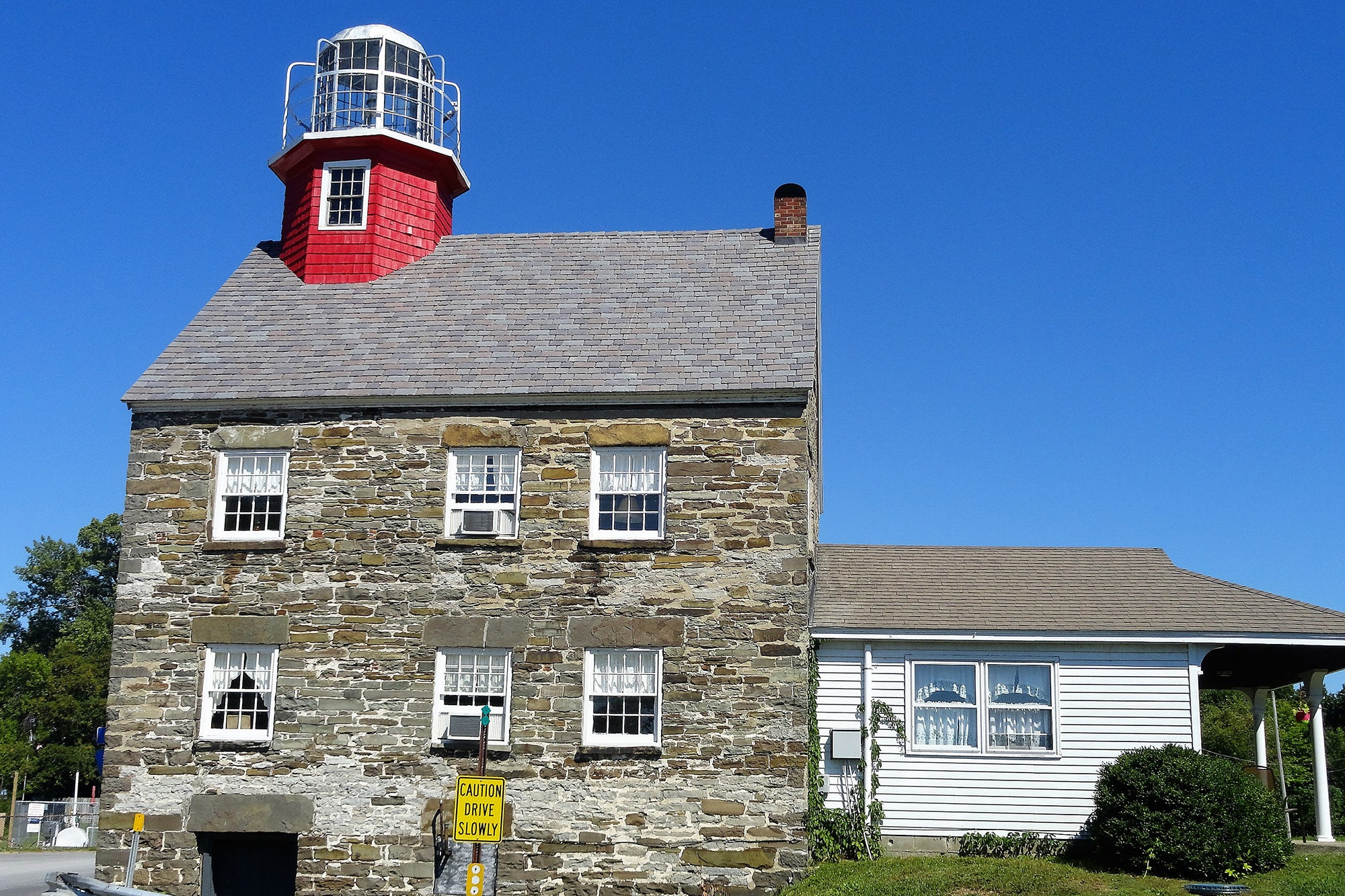 The birdcage lantern atop the Salmon River Lighthouse is one of only a few remaining in service today.