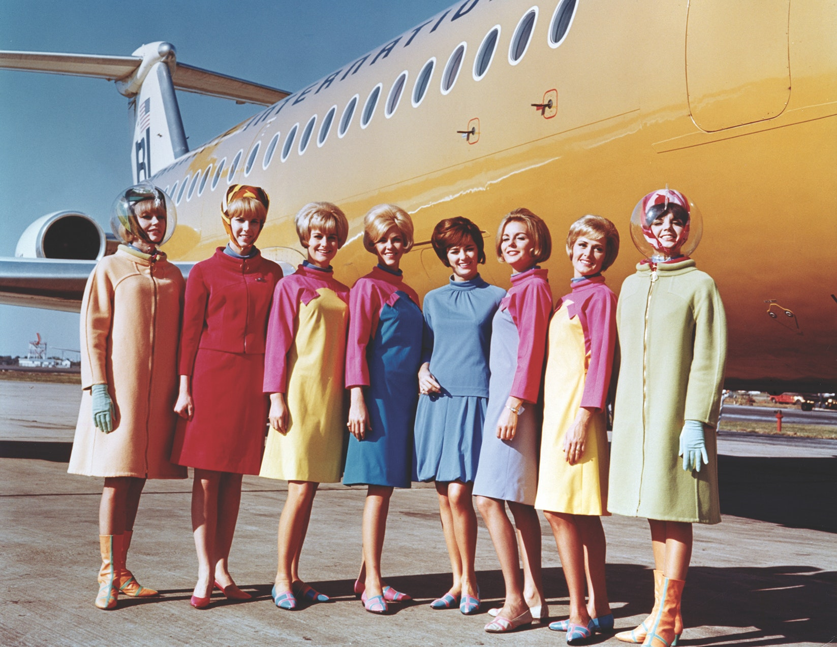 In the 1960s, psychedelic rainbow prints were signatures of Emilio Pucci's collection for the now-defunct U.S. airline Braniff International.