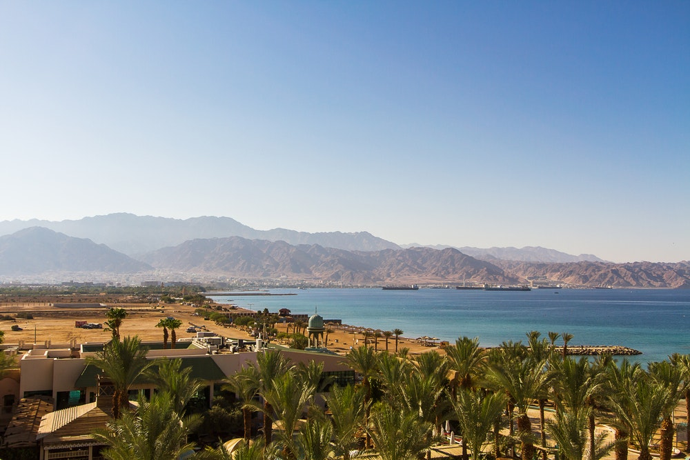 The trail ends at the Red Sea in Aqaba, Jordan.