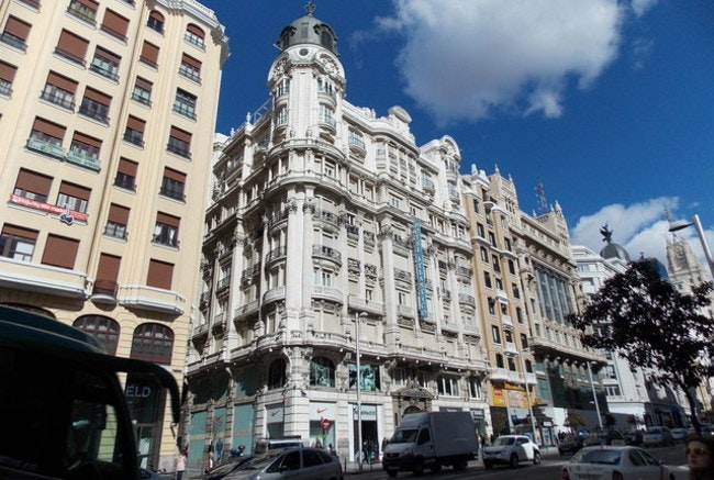 The Grand Via in downtown Madrid, Spain