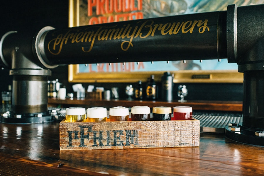 A flight of local beers at the pFriem brewery in Hood River.