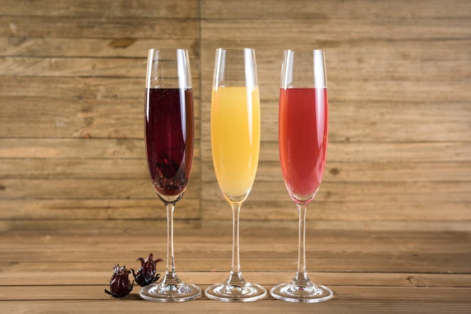 The mimosa flight at Disney California Adventure's Sonoma Terrace includes three flavors: hibiscus, tropical, and mixed berry.