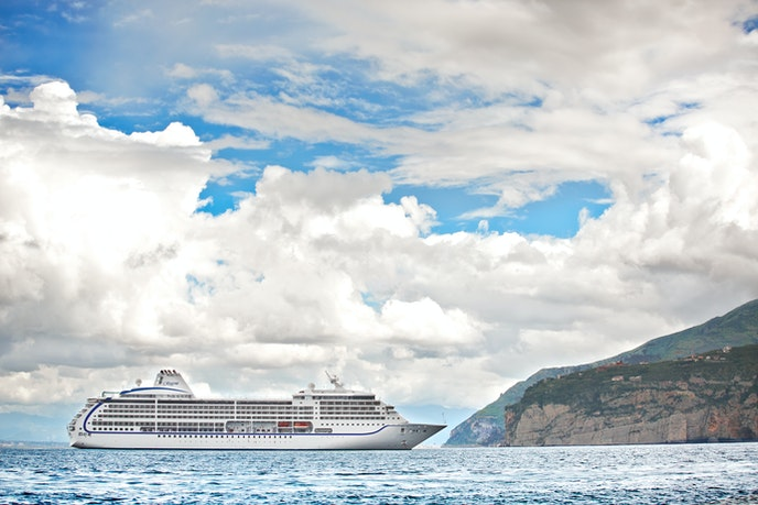 The Seven Seas Mariner docked in Sorrento, Italy, one of 63 ports on this around-the-world sailing.
