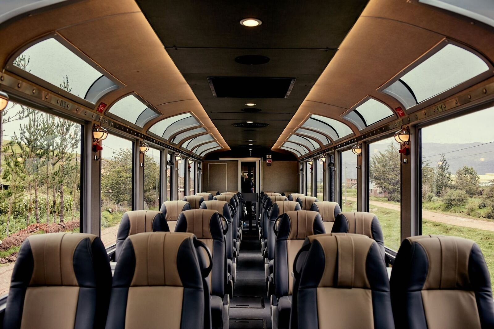 The new 360° Machu Picchu Train features panoramic windows, an open-air balcony, and an entertainment app on board.