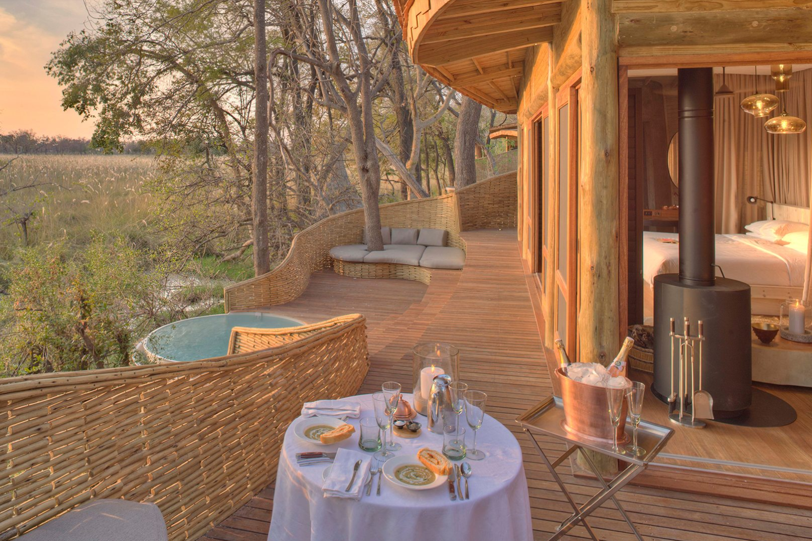 Tented suites at this luxury safari lodge feature wood-burning fireplaces to ward off evening chill.
