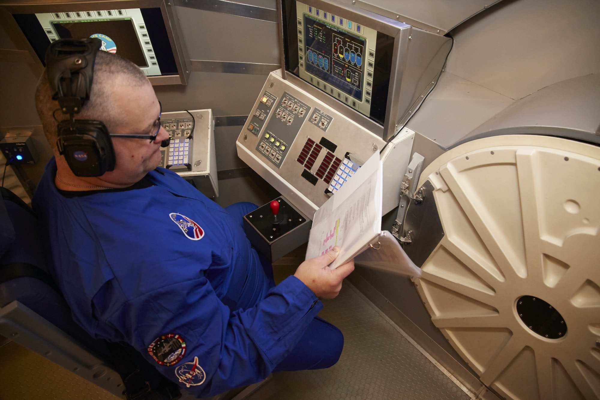 The author in his role as CAPCOM, the veteran astronaut on the ground.