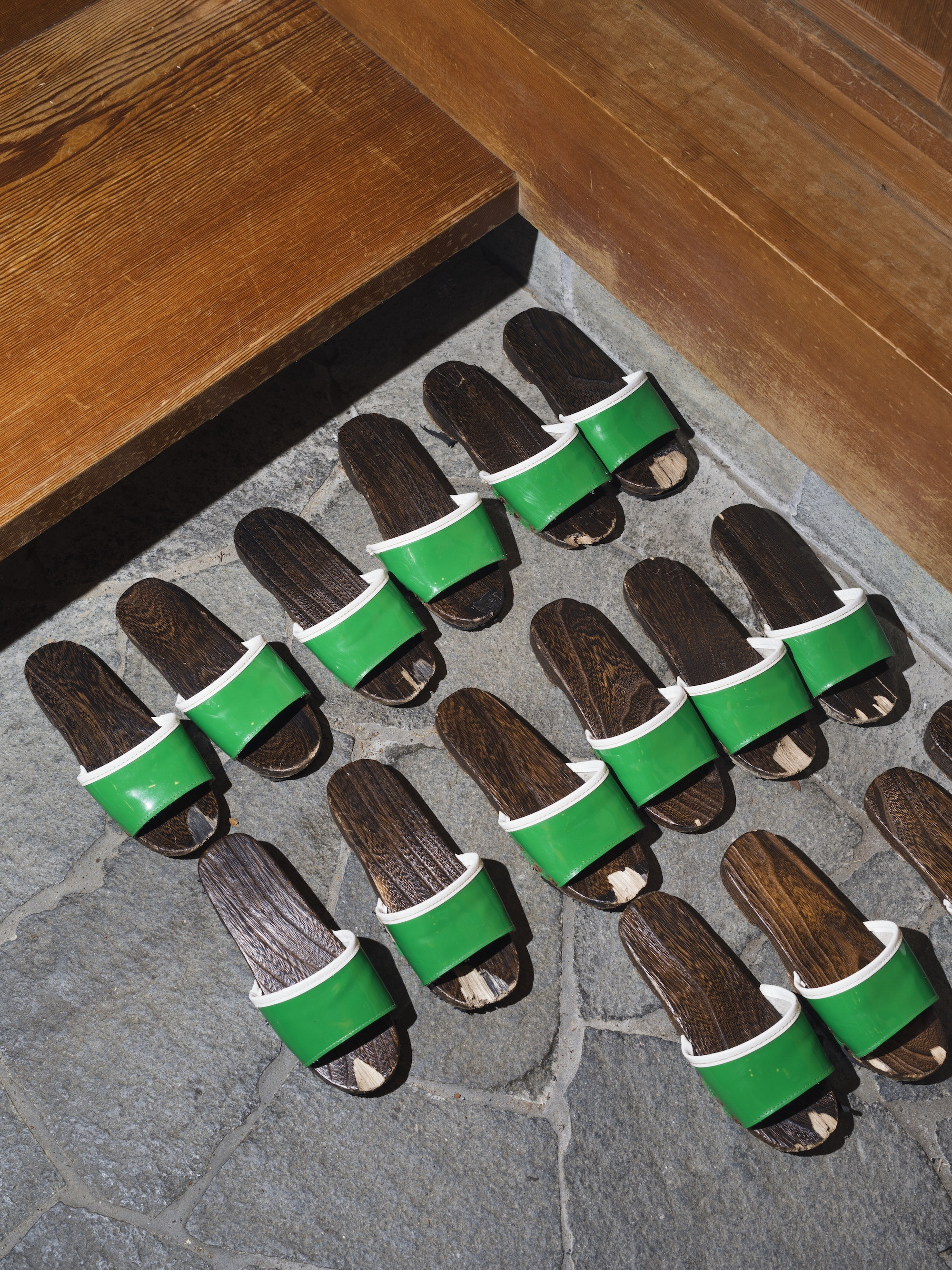 Slippers for guests entering a building