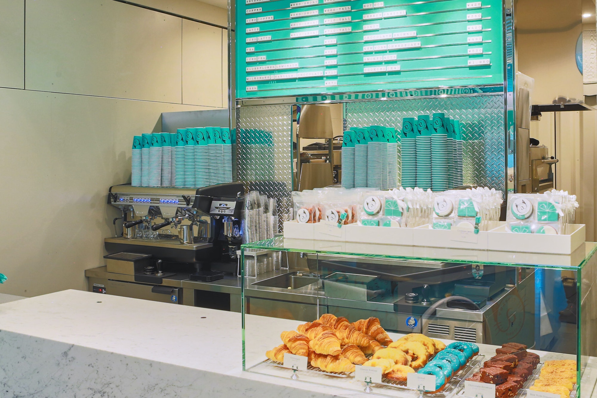 The coffee counter at the Tiffany Cafe in Tokyo.