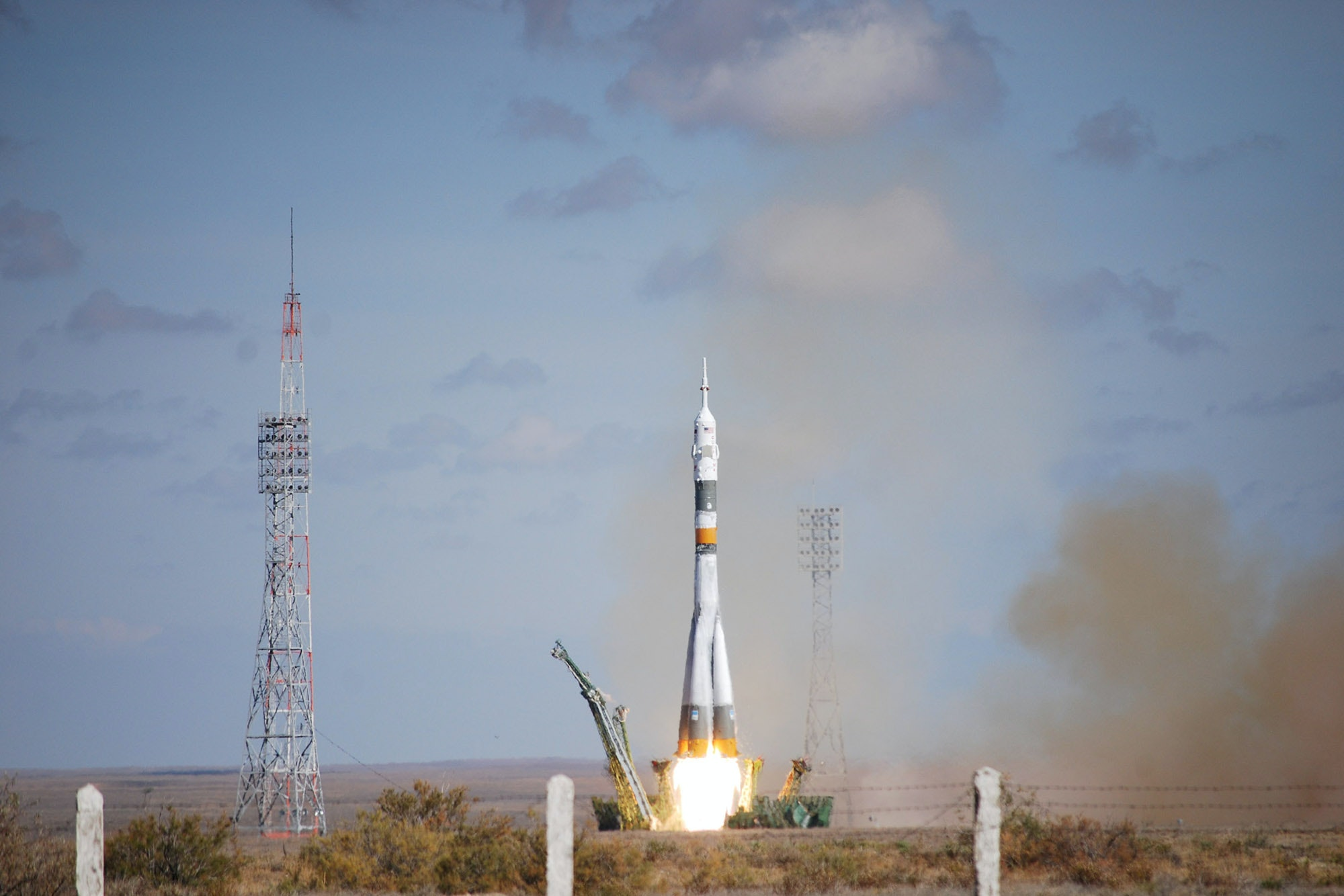 The launch of a Soyuz spacecraft to the International Space Station