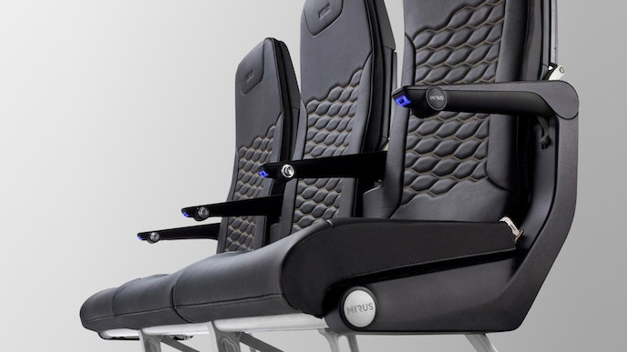 The Mirus Hawk economy class seats feature slender frames made of forged aluminum and carbon fiber.