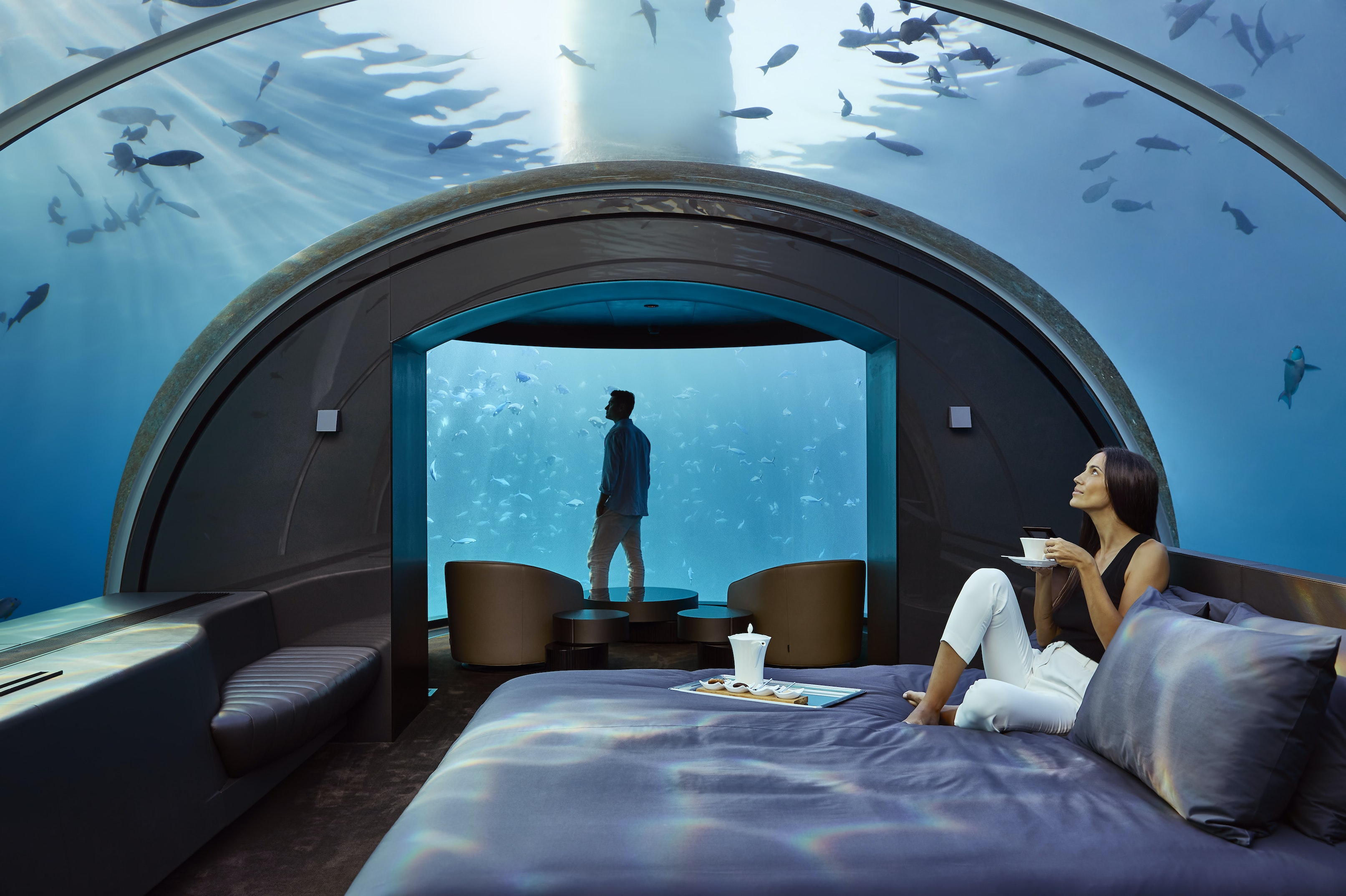 Book a $50,000-per-night, underwater, glass-enclosed villa at the Conrad Maldives Rangali Island and receive Hilton Honors Diamond status for a year.