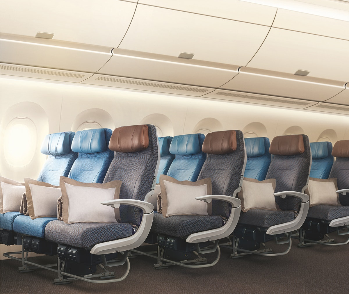 Higher ceilings and trick LED lighting help make the cabin of Singapore Airlines's Airbus A350 more pleasant.