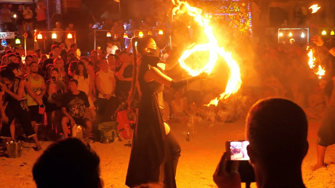 Hippie-flavored Koh Phangan is the setting for wild full moon parties on Rin Beach.