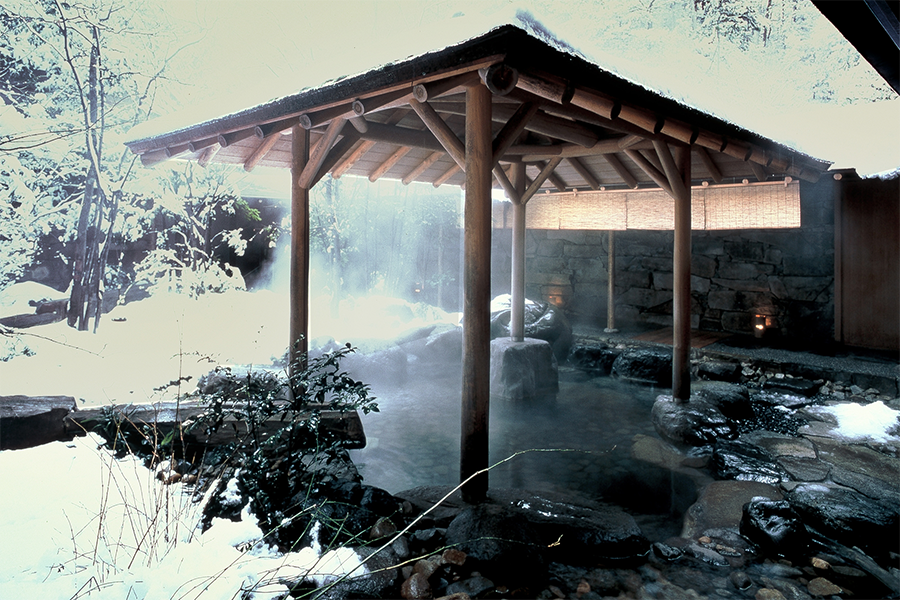 The spa at Nishimuraya Hotel Shogetsutei offers Japanese-, Balinese-, and Chinese-style onsen for guests.