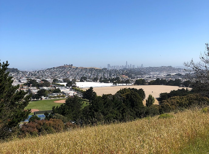 John McLaren Park features a distant view of downtown San Francisco.