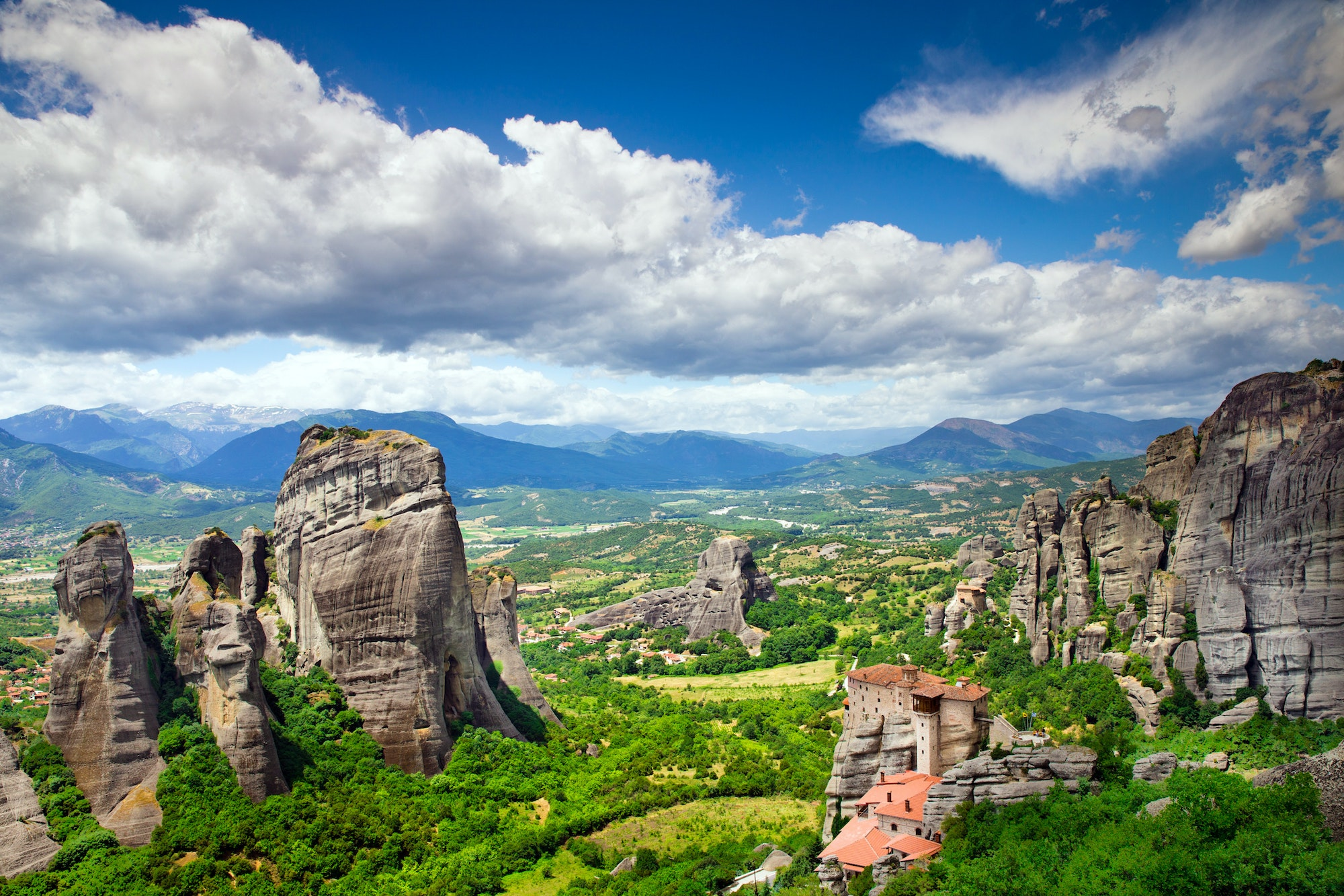 In Meteora, Greece, 11th-century monasteries sit atop towering natural pillars.