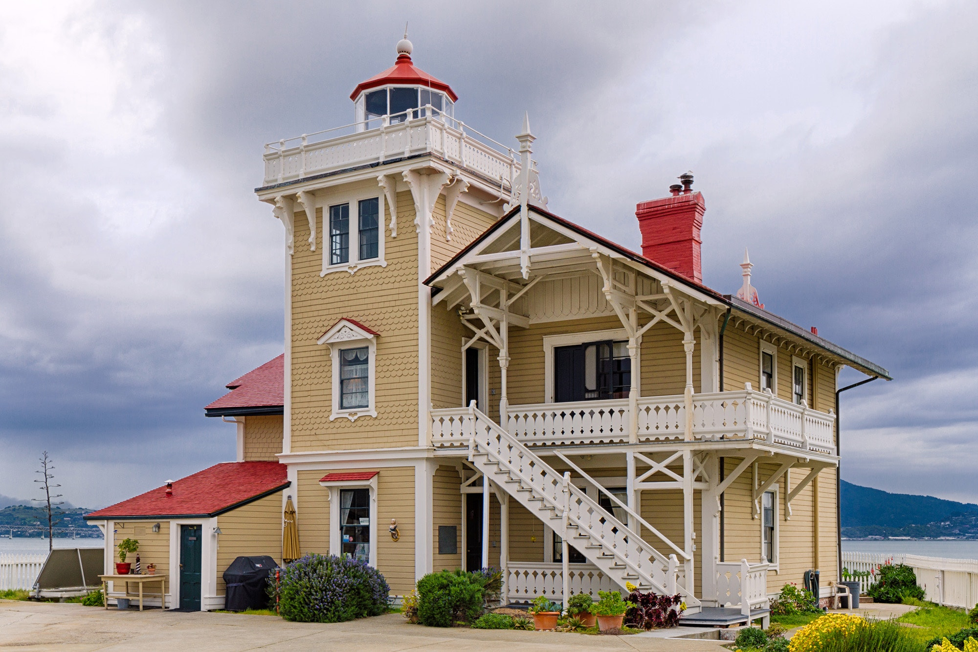 The Victorian East Brother Light Station sits on an island in the San Francisco Bay.