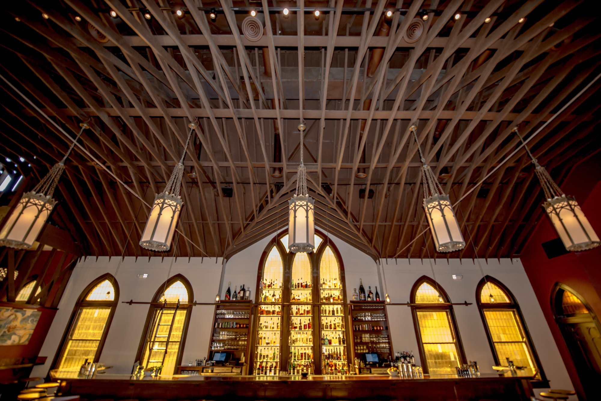 The ceiling of this 100-year-old Lutheran church-turned-restaurant was modeled after a ship's hull.