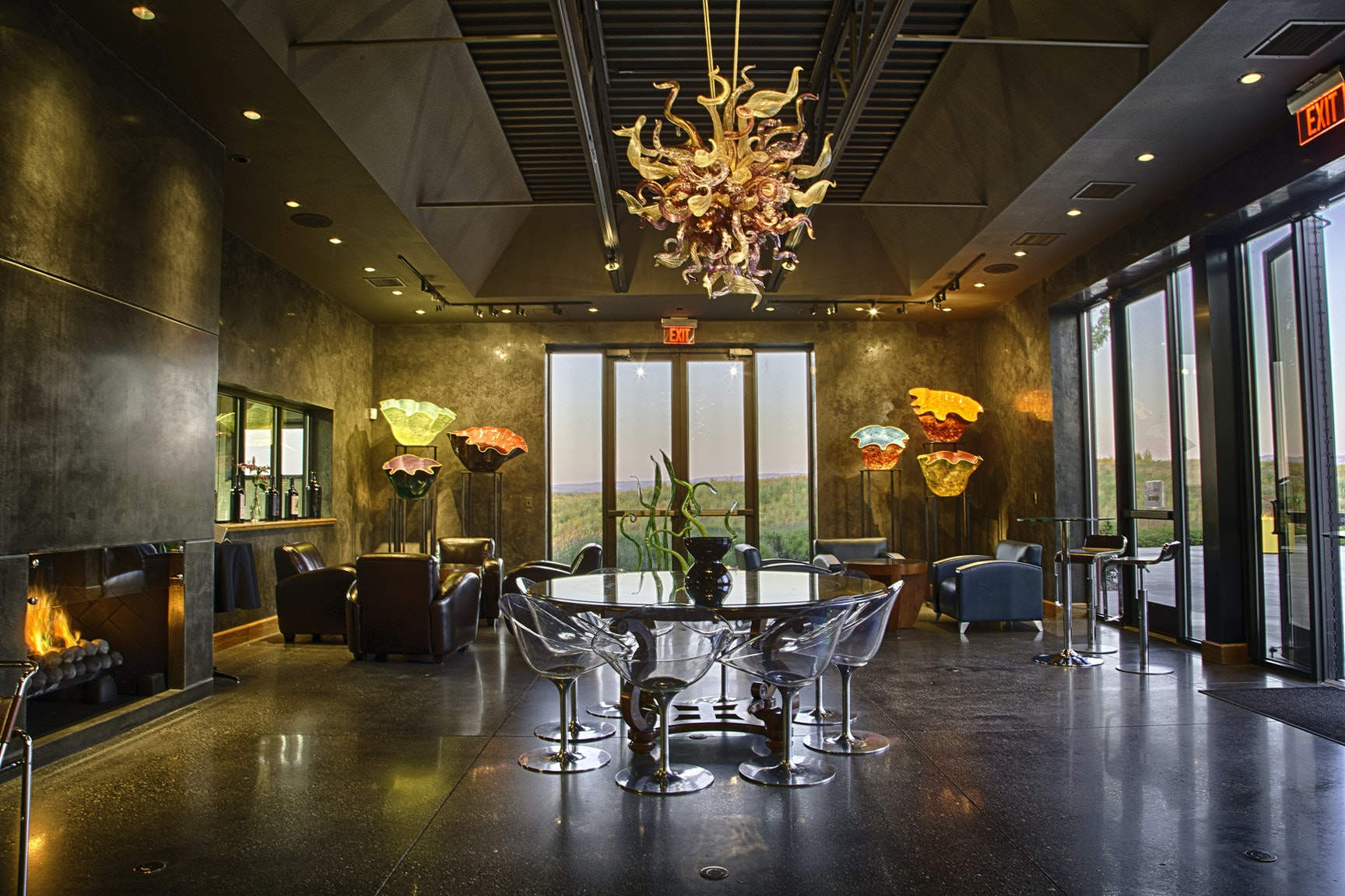 The tasting room at Long Shadows in Walla Walla features glassworks by sculptor Dale Chihuly.