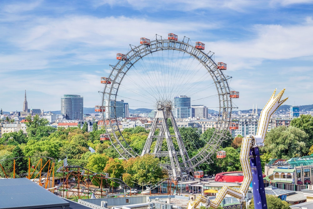 Built in 1897, Vienna's Wiener Riesenrad is the world's oldest operating Ferris wheel in one of the world's oldest amusement parks.