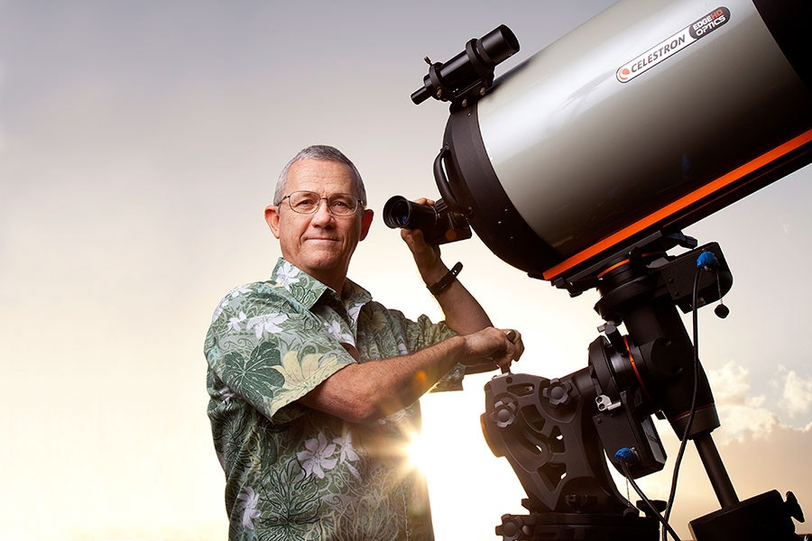 Eddie Mahoney, director of astronomy, is the star of the show at Hyatt Regency Maui Resort and Spa.