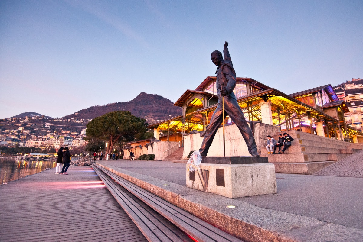 A statue of Freddy Mercury graces Montreaux, where Queen recorded multiple albums.