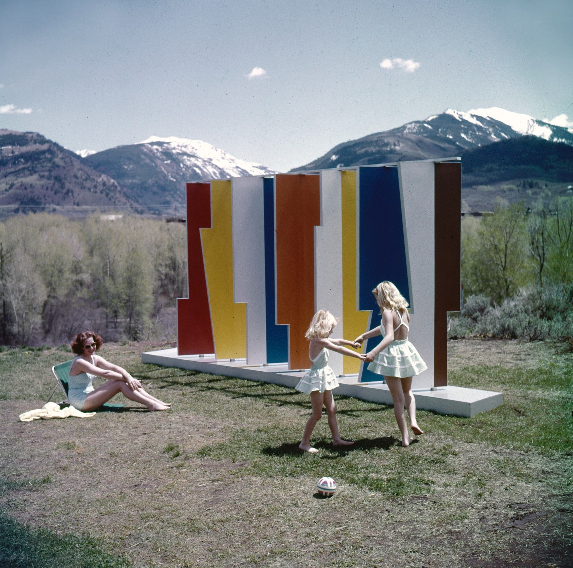 Herbert Bayer's Kaleidoscreen installed in Aspen, Colorado, as captured in a photograph from the 1950s.