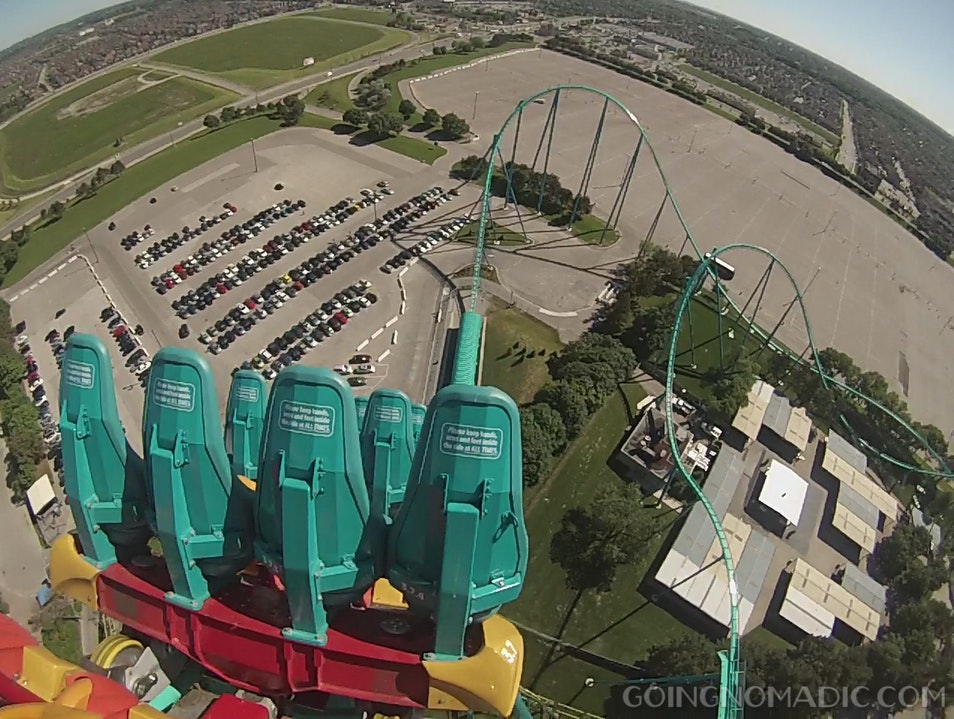 Going over the peak of the largest rollercoaster in Canada
