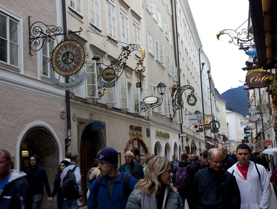 Window-Shopping on Historic Getreidegasse  Salzburg  Austria