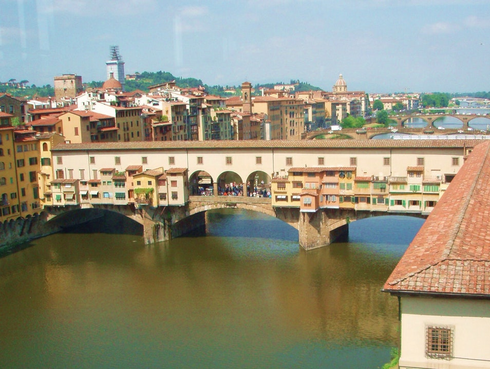 View Of The River Arno From The Uffizi Florence  Italy