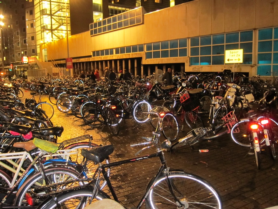 Sea of bicycles  Amsterdam  The Netherlands