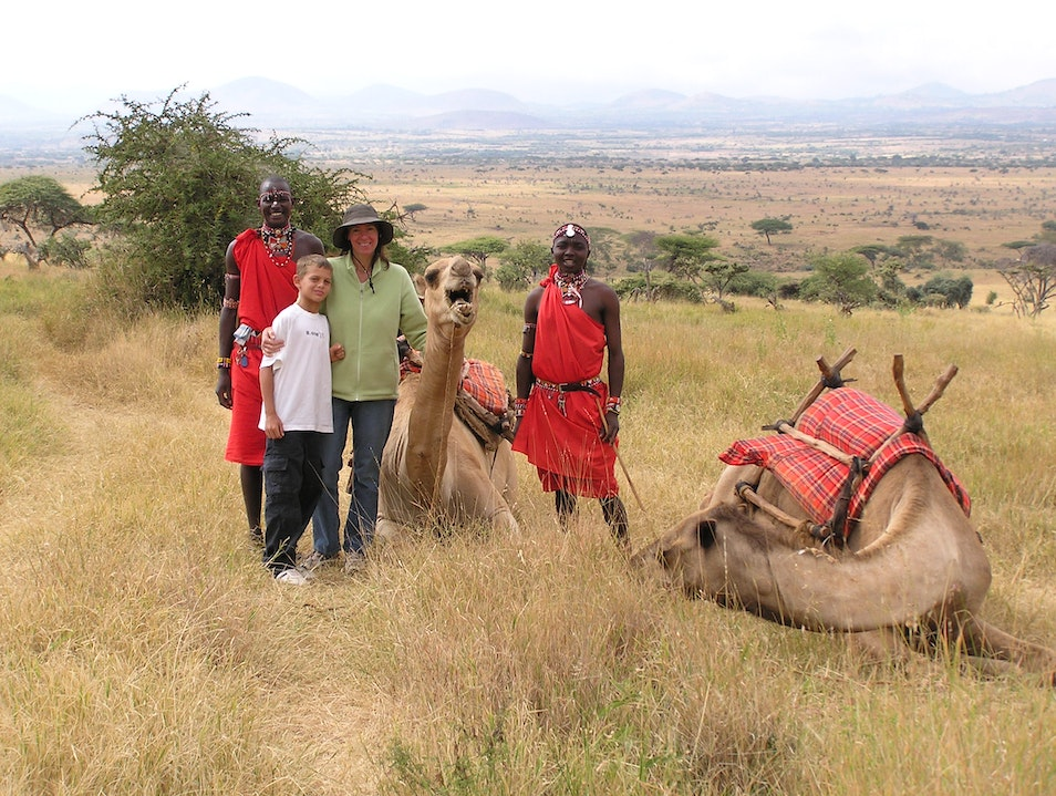 Camel riding with Maasai at Lewa Wildlife Conservancy