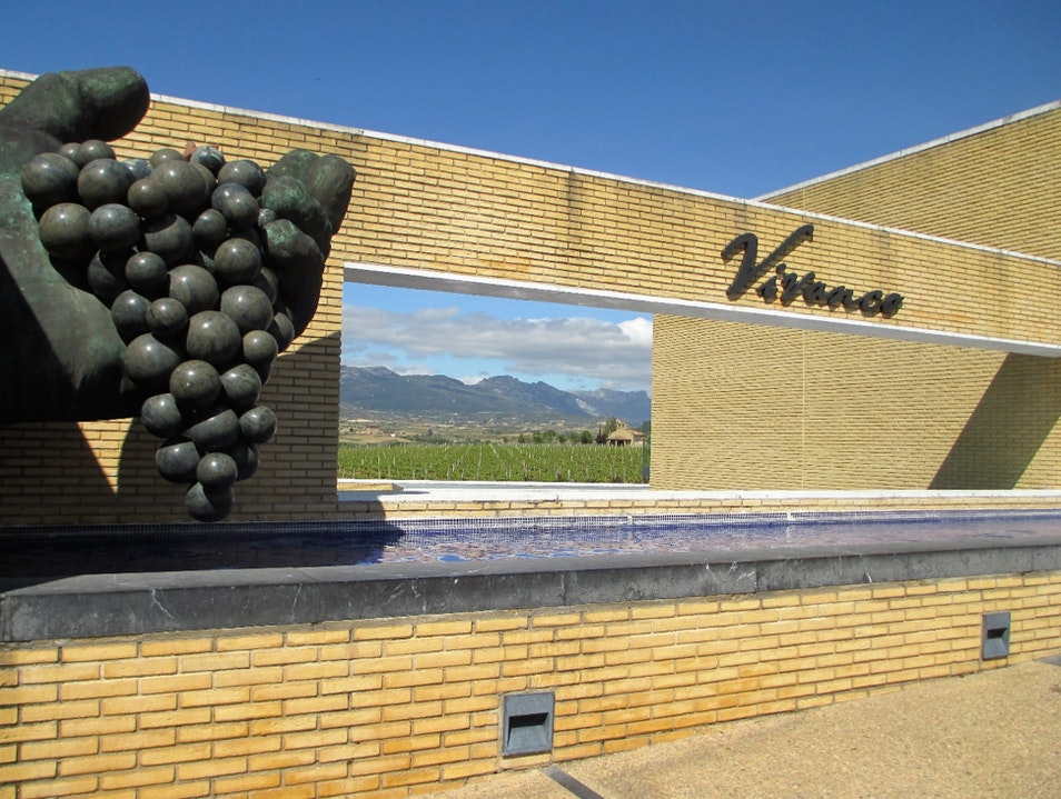 The Vivanco museum is set in the Rioja valley against the backdrop of the Cantabria Mountains Briones  Spain