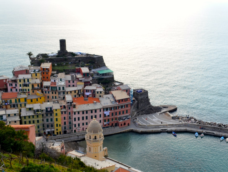 Late afternoon hike across Cinque Terre Vernazza  Italy