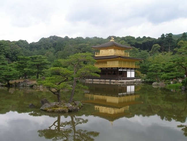 The Golden Pavillion at Kinkaku-ji Temple. The iconic image of Kyoto.
