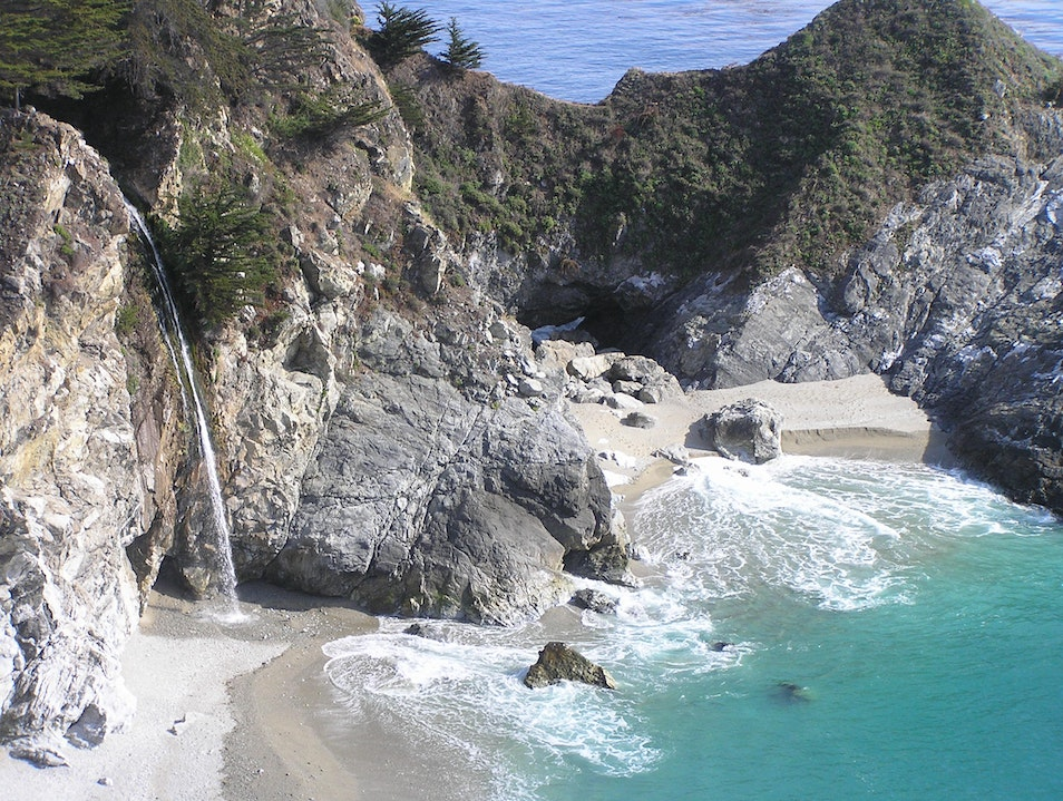 Waterfall by the Pacific Big Sur California United States