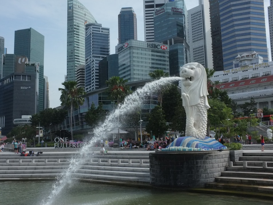 take in the view of marina bay at merlion park. Singapore  Singapore